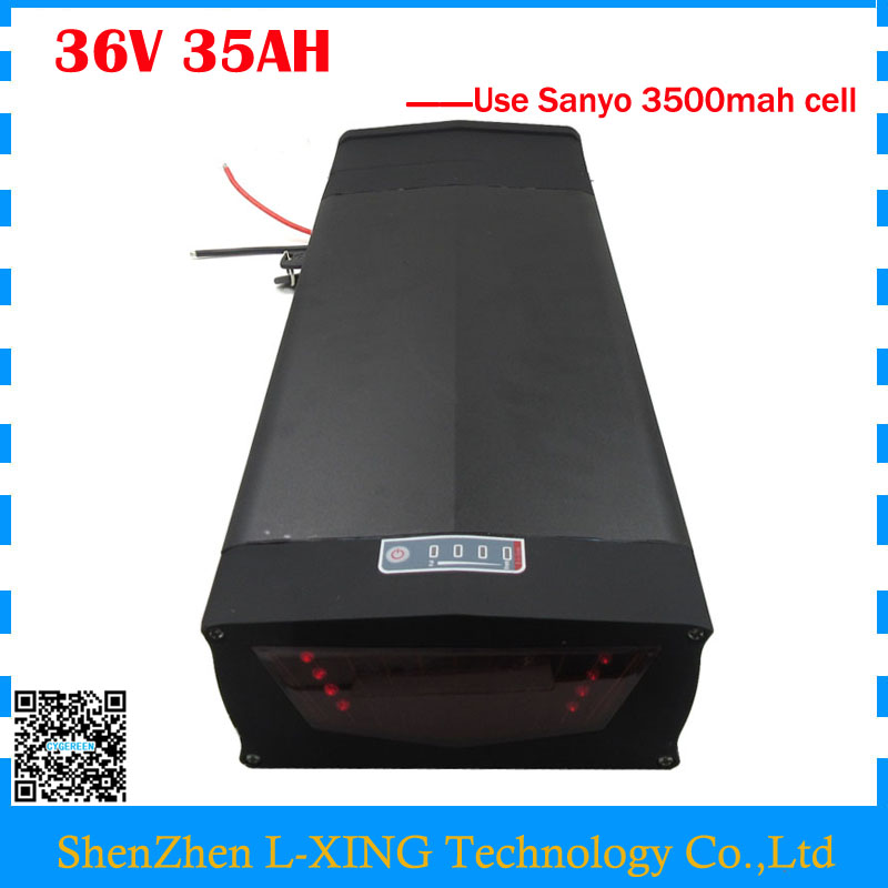 36V 35AH Rear rack battery 1000W Lithium ion battery 36V 35AH with tail light and USB Port use Sanyo 3500mah cell 30A BMS 30a 3s polymer lithium battery cell charger protection board pcb 18650 li ion lithium battery charging module 12 8 16v