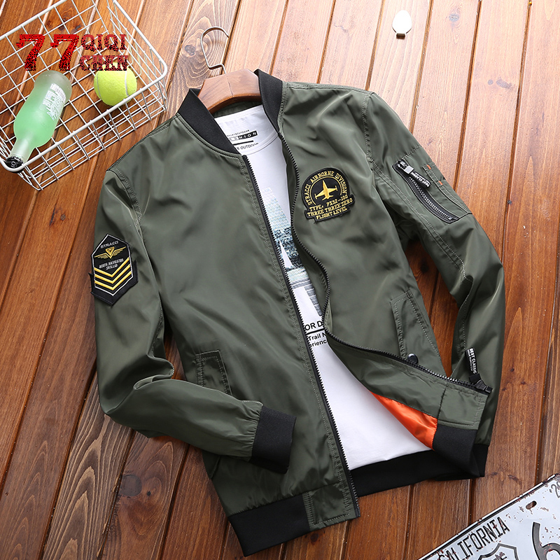 Military Jacket Men 2019 Spring Autumn Fashion Stand Collar  Embroidery Baseball Bomber Jackets And Coats Plus Size M-4XL