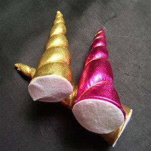 Image 4 - 50 cái/lốc, Cô Gái Trẻ Em Mũ, Nón Cảm Thấy Độn Unicorn headband Phụ Kiện Tóc, DIY Unicorn Bên mũ nón tóc phụ kiện