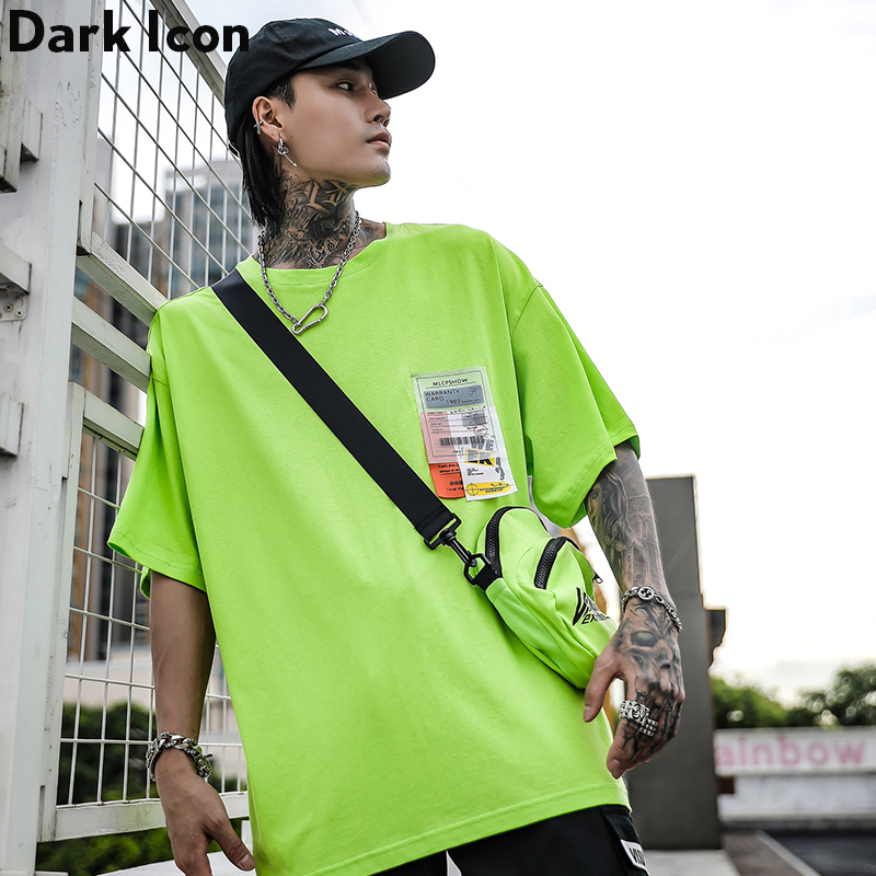 Dark Icon Side Split Fluorescent Green T-shirt with Messenger Bag Hiphop Tshirt Men Cotton Tee Shirts Streetwear Clothing 2