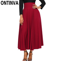 Women Fashion Summer Pleated Long Skirts High Waist Back with Bow Tie Elastic Waist Skirts Jupe Femininas Mujer Faldas Saias
