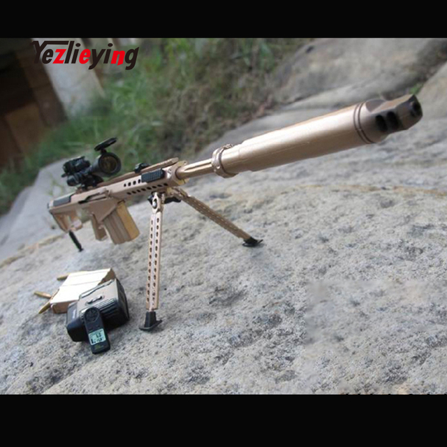 US $35 46 |ZY TOYS 1/6 Scale Soldier annex Gun Weapon Model Barrett M107A1  Sniper Rifle Golden muffler model for 12 inch Action Figure-in Action & Toy