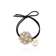 CHIMERA Womens Crystal Round Ball Hair Ties Beads Ponytail Holder Gum Double Layer Elastic Band Elegant Accessories