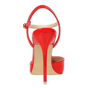 Image 2 - D & Henlu קרסול רצועת סנדלי נשים נעלי עקבים גבוהים וו מחודדת פגיון לכה pupms סקסי קיץ למסיבה חתונה