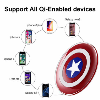 A+Avengers QI Wireless Charger For Samsung Galaxy S8 S7 S6/S6 Edge G9250 For iPhone 5 6 7 8 Captain America Shield Charging Pad 1