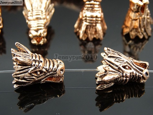 Solid Metal Vintage Tibetan Rose Gold Dragon Head Bracelet Necklace Connector Charm Beads 50pcs Pack