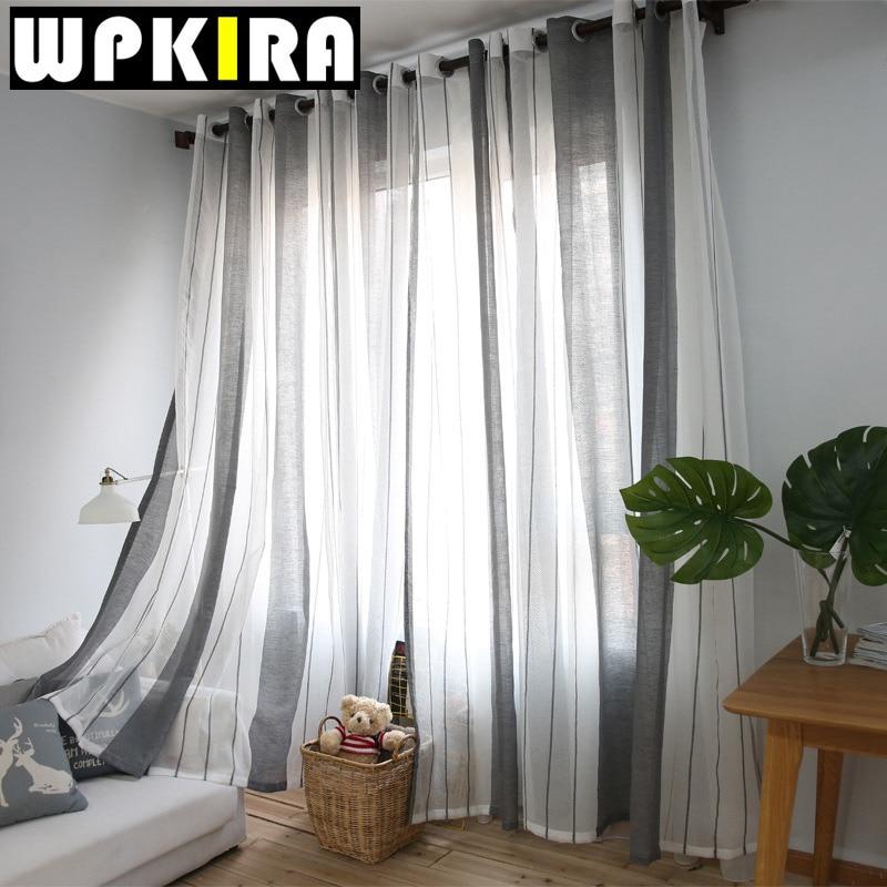 modernas cortinas de tul para la sala gris raya escarpada voile cortina para el dormitorio cocina