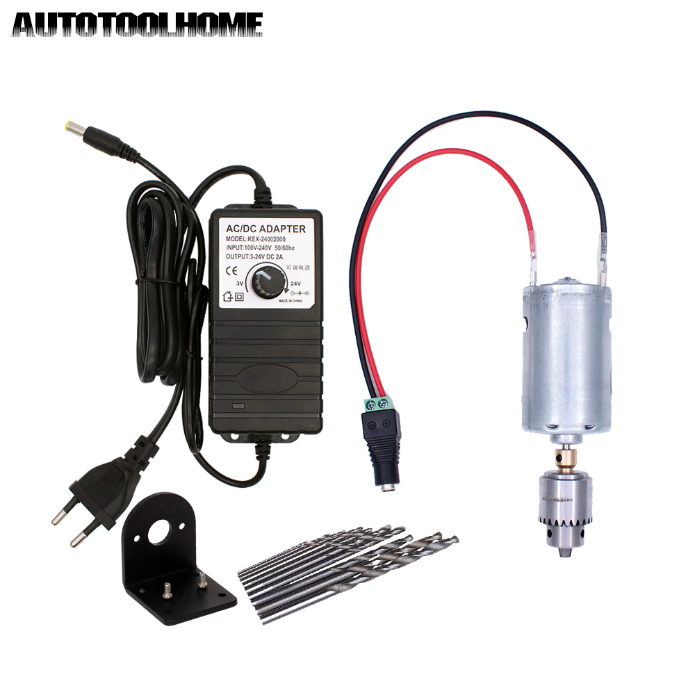 DC 24V Motor Electric Hand Drill Kit With 3-24V 2A Adjustable Power Supply Adapter 0.3-4mm JT0 Chuck Twist Drill Bits Multi Tool