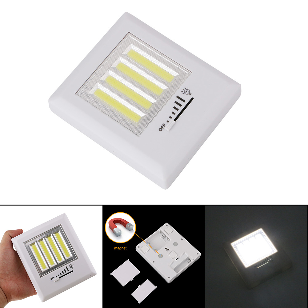 Newest 4 COB LED Wall Light Night Lights Lamp Battery Operated With magnetic back plates cordless for Garage Closet Lighting cob led wall lamp rotary switch night light adjustable wireless closet cordless lamp battery operated wardrobe light