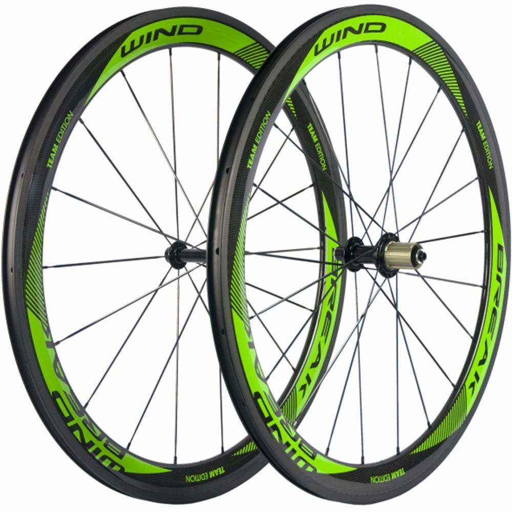 50mm High Wind Break Green logo Bike Carbon Wheels Clincher Road Wheelset 3k Glossy Bicycle Wheel Set R13 Hub