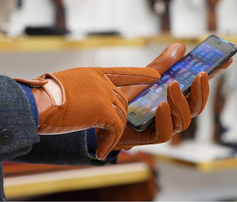 Перчатки из натуральной кожи, мужские тонкие перчатки из овечьей кожи, теплые и зимние мужские кожаные перчатки, мужские кожаные перчатки д... - 4