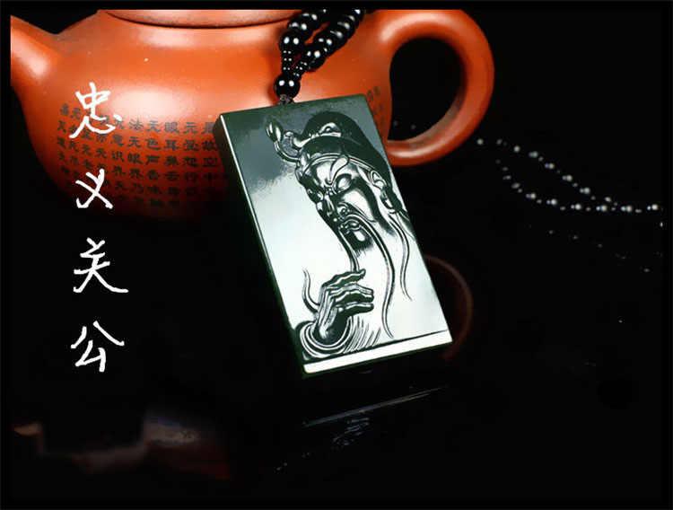 Naturalne Hetian yu yu kamień rzeźbione Guangong wisiorek mężczyźni atmosfera marki statua wisiorek biżuteria z 18 Arhat liny