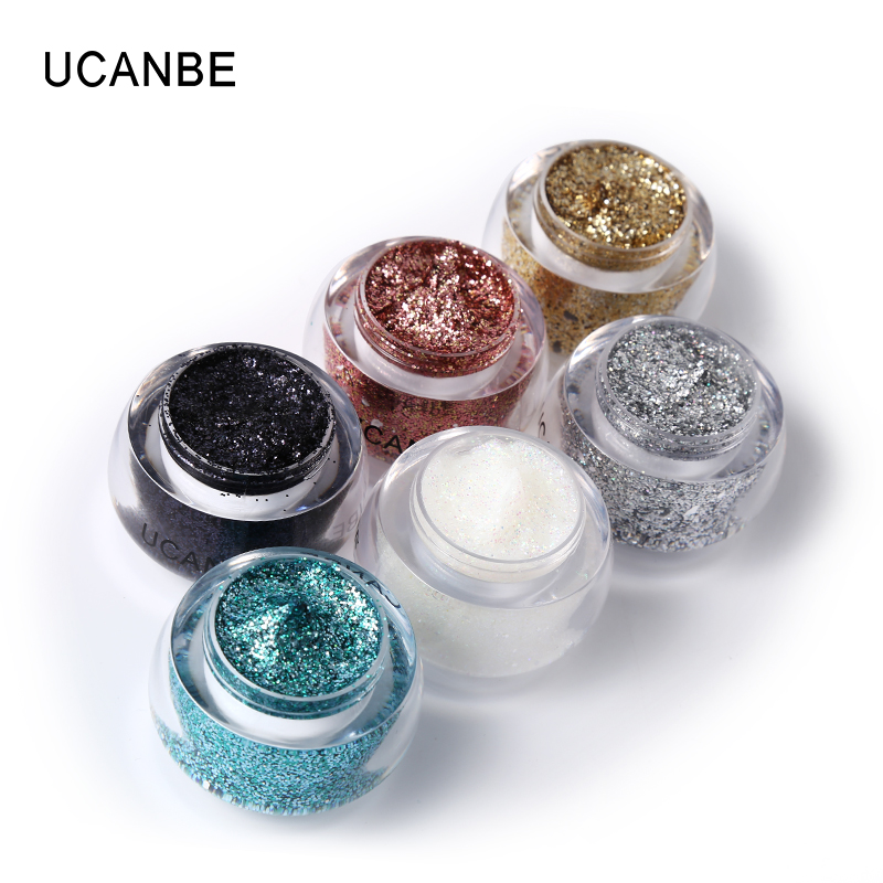 UCANBE 6 Colors Studio Glitter Paste Highlighter krēms Diamond Shadow gēla kristāla sejas un ķermeņa krāsas grims Festivāls Comsetic komplekts