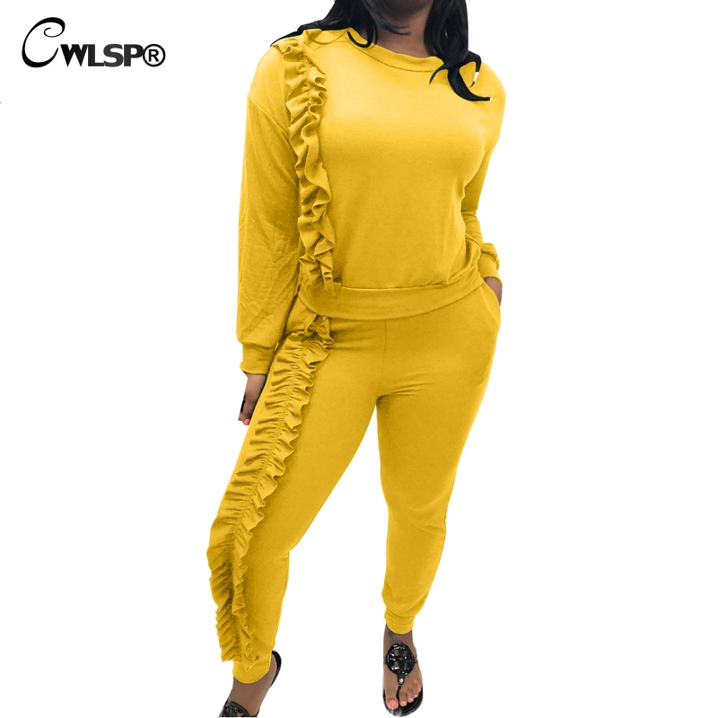 CWLSP Fashion Tracksuits Women Ruffles Pullover 2 Piece Suit Set Long Sleeve Hoodie& Swe ...