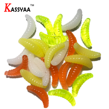 KASSYAA 100pcs 0.37g 20mm Grub Smell Biomimetic Soft Worm Maggot Worn Fishing Lure Soft Baits Bread Silicone Worm Fake Bait