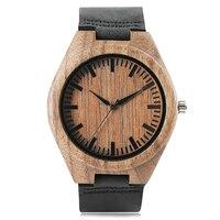 Wood Watches Bangle Men Women Nature Handmade Wood Wristwatch Quartz Analog Black Genuine Leather Strap Male