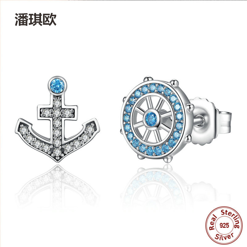 Retro 925 Sterling Silver Anchor & Rudder Blue Crystals Stud Earrings For Women Boat Element Compatible with pan jewelery