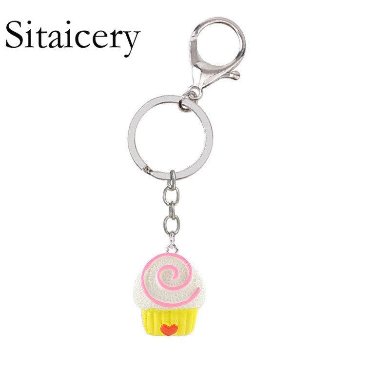 Sitaicery Metal Chaveiro Cake Keychain Glitter Pompom Key Chain Gifts For Women Man Llaveros Mujer Car Bag Accessories Key Ring in Key Chains from Jewelry Accessories
