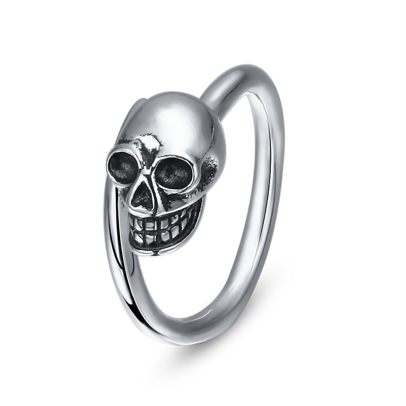 925 Sterling Silver Rings for Women Men Vintage Black Design Party Ring Skeleton Skull Ring 925 Silver Finger Ring Fine Jewelry
