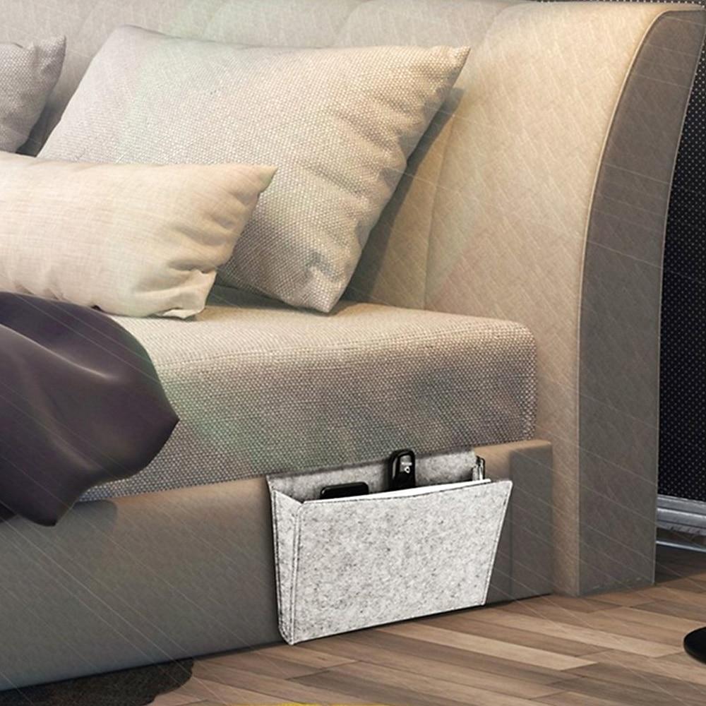 Sofa Bedside Hanging Storage Bag Holder with Inner Pockets for Organizing Tablet Magazine Things Felt Pouch Bed Table Organizer|Hanging Organizers| |  - title=