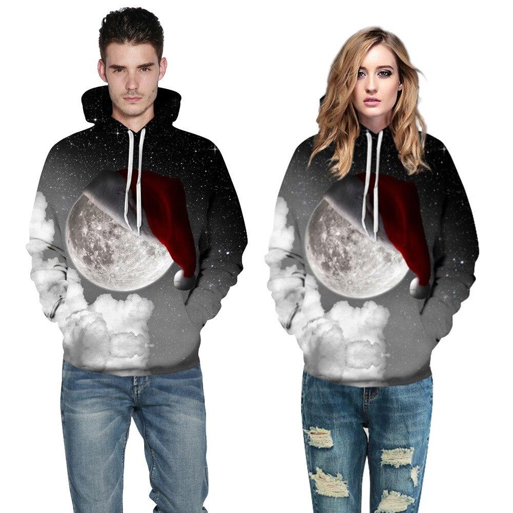 Mr.1991INC Newest Style Sky Star Christmas hat digital Print Casual Sweatshirts Men hoodie sweatshirt Hot Hooded Pullovers M151