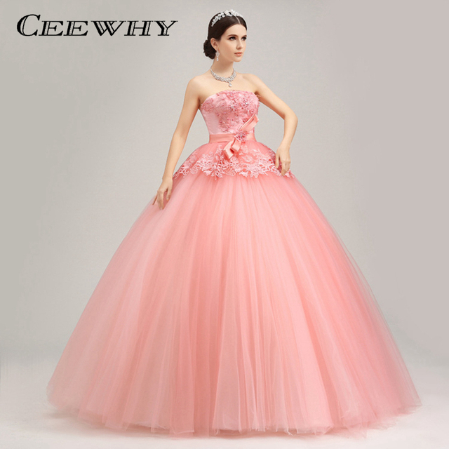 CEEWHY Custom Size Ball Gown Bow Pearl Evening Dress Embroidery Formal  Party Prom Dress Coral Evening Gowns Robe de Soiree c779e7512427