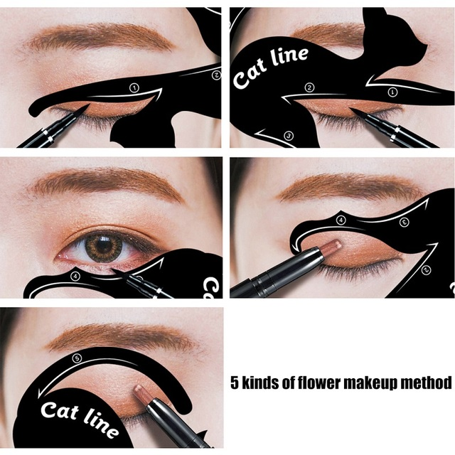 2Pcs Cat Line Stencils Pro Eye Makeup Tool Eyeliner Stencils Template Shaper Model Eyebrows Eyeshadow 1