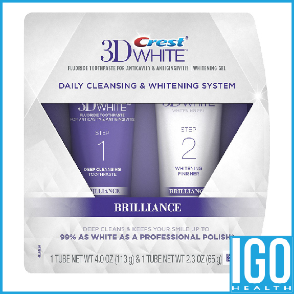 Crest 3D White Brilliance Daily Cleansing Toothpaste and Whitening Gel System 6 3 Oz free shipping