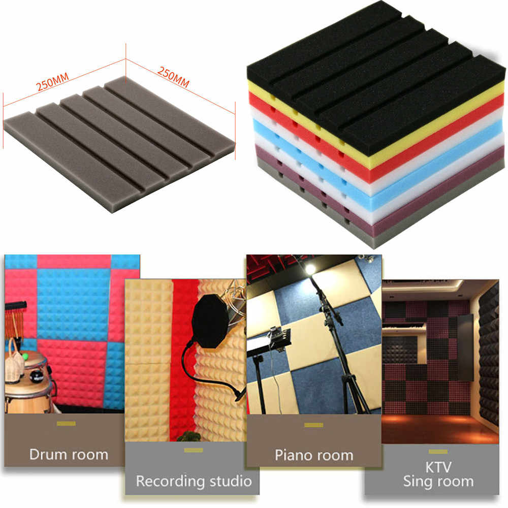25x25x2cm Acoustic Sound Stop Absorption Pyramid Recording Studio Soundproof Foam Sponge Treatment Board Panels KTV Soundproof