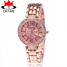Venta caliente oktime marca de moda de lujo de acero inoxidable reloj casual vestido de las mujeres reloj de pulsera reloj de cuarzo reloj kt20