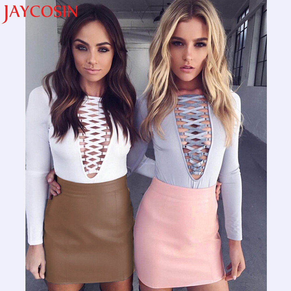 JAYCOSIN 2020 Women Sexy Bandge Leather High Waist Pencil Bodycon Hip Short Mini Skirt Y7629