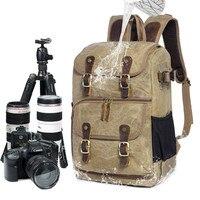 High Capacity Batik Canvas Fabric Photography Bag Outdoor Waterproof Camera Shoulders Backpack for Canon Nikon Sony DSLR SLR Camera/Video Bags