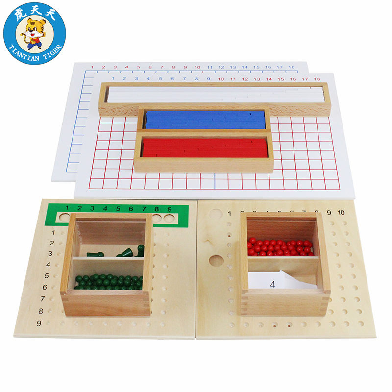 Montessori Kids Children Mathematics Toys Education Wooden Toys Addition, Subtraction, Multiplication and Division Boards