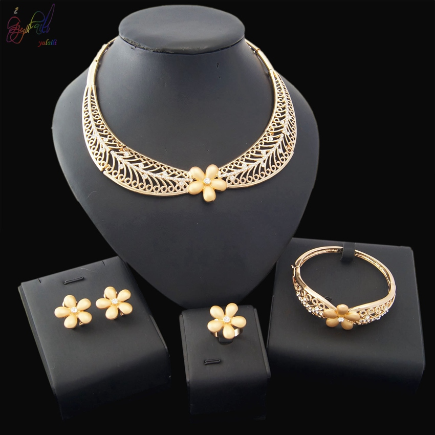 Free Shipping 2018 YULAILI Fashion 18 Carat Gold African Flower Four Pieces Jewelry Set for Ladies blue gemstones decor four pieces jewelry set page 6