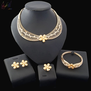 Yulaili Free Shipping 2018 New Fashion 18 Carat Gold African Flower Four Pieces Wedding Bridal Jewelry Set for Women(China)