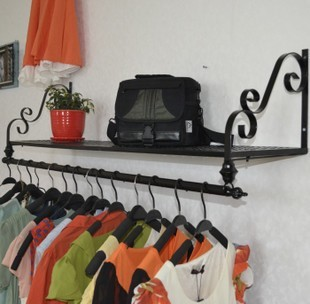 ou wrought iron wall clothing display shelf wall hanging clothes shelf clothing store clothes - Clothes Wall Hanger