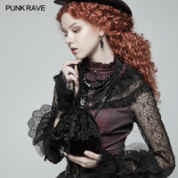 PUNK RAVE Women Gorgeous Gothic Lolita Lace Small Tote Victorian Evening Party Club Steampunk Clothes Accessories