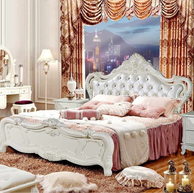 high quality bed Fashion European French Carved bedside 1.8 m bed 9780