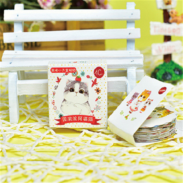 30Packs/Lot Mini Cartoon Kat Papier Sticker Decoratie Diy Dagboek Scrapbooking Afdichting Sticker Kawaii Briefpapier Memo Pad