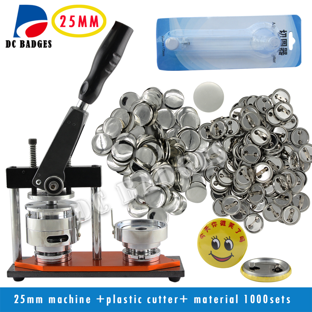 New  1 25mm  badge machine Button set including adjustable circle cutter +1000sets 25mm metal pinback badge material supplies free shipping new pro 1 1 4 32mm badge button maker machine adjustable circle cutter 500 sets pinback button supplies
