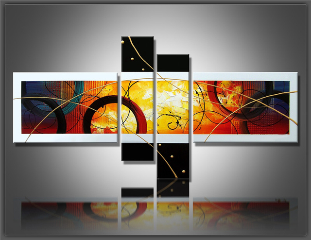 100% Hand Painted Canvas Abstract Oil Painting Multi Panel Canvas Wall Art  Large Home Office