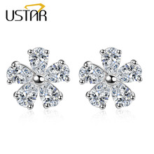USTAR NEW 2017 Stud Earring for Women silver color Flower Crystals Earrings female Fashion Jewelry Ear brincos top quality