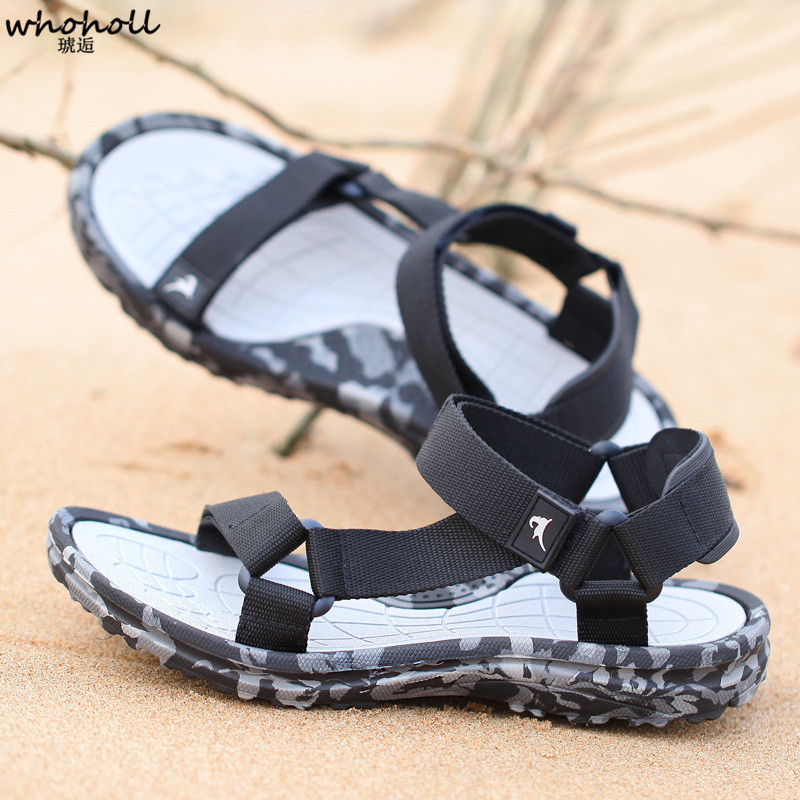 WHOHOLL 2019 Summer Men Sandals Flat Shoes Male Camouflage Casual Beach Shoes Outdoor Walking Flip Flops Gladiator Sandals in Men 39 s Sandals from Shoes