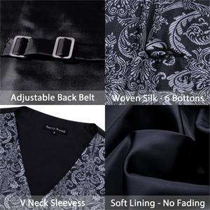 Image 5 - Designer Mens Classic Black Paisley Jacquard Folral Silk Waistcoat Vests Handkerchief Tie Vest Suit Pocket Square Set Barry.Wang
