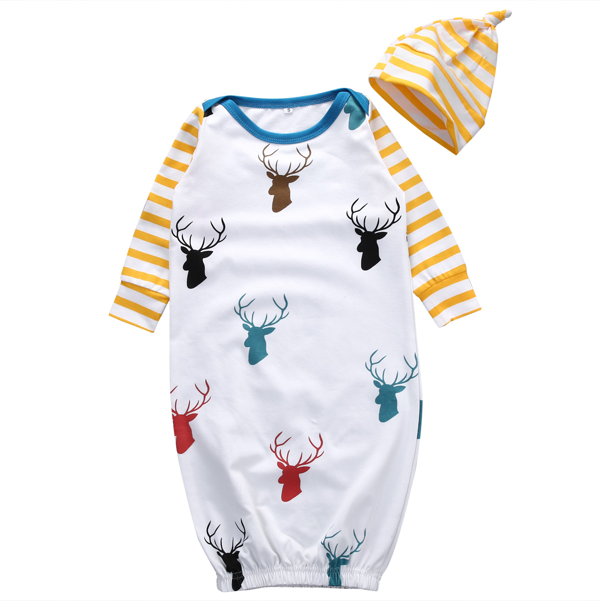 2pcs Toddler Newborn Infant Baby Girls Boy Deer Romper Striped Hat Outfits Casual Clothes Sleepwear Pjs Set puseky 2017 infant romper baby boys girls jumpsuit newborn bebe clothing hooded toddler baby clothes cute panda romper costumes