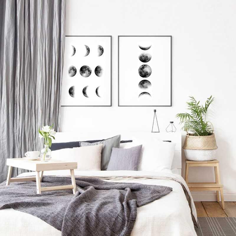 Fase Bulan Seni Poster Kanvas Lukisan Dinding Gambar untuk Ruang Tamu Nordic Dekorasi La Lune Cetak Luna Dekorasi Dinding