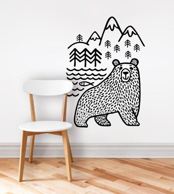 large black Bears Fish Mountain wall sticker art decals diy home