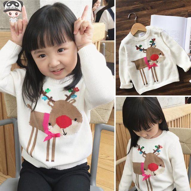 Ins hoT CRIANÇAS camisolas 2016 OUTONO INVERNO CRIANÇAS roupas blusas VEADOS NATAL das crianças VESTIDOS DA MENINA DO BEBÊ ROUPAS