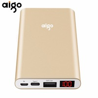 Aigo N1 LCD Display Mobile Backup Bank 10000MAH Capacity Power Bank Charger Supply For Smartphones Tablet