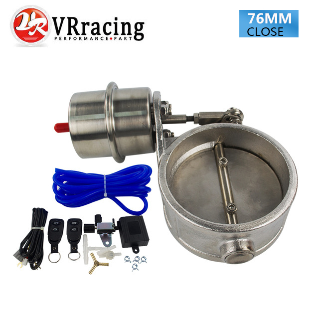 VR RACING Exhaust Control Valve With Vacuum Actuator Cutout 3 76mm Pipe CLOSED with ROD with